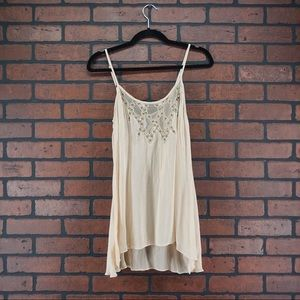 WILLOW  CLAY Camisole Lace Tank Beaded Cream